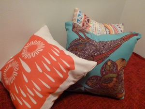 Cushions add a splash of colour.