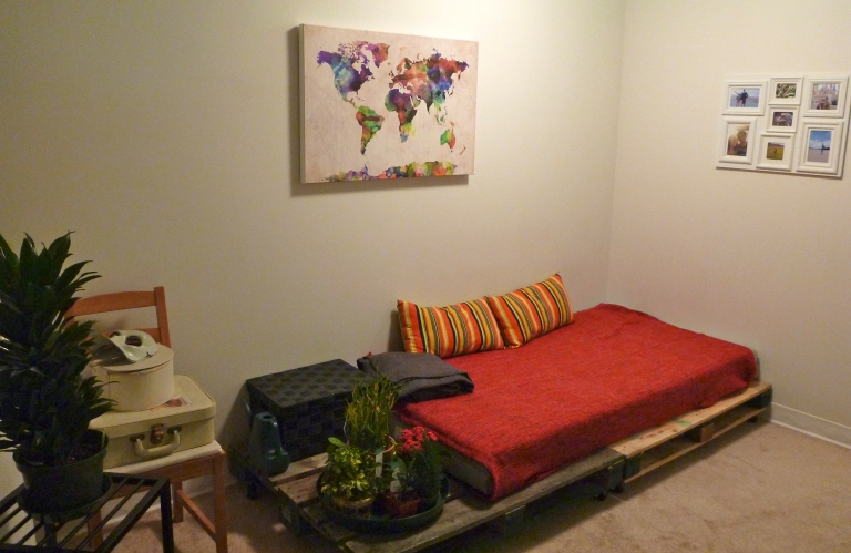 The pallet daybed is an easy, and relatively cheap, alternative to buying a couch.