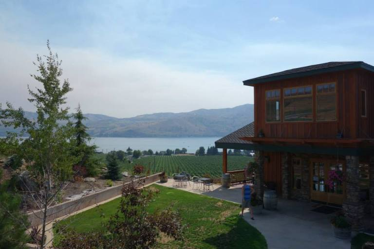 A view over Lake Chelan, WA, from a beautiful winery