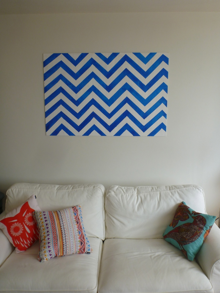 The chevron canvas — a quick and simple DIY art project