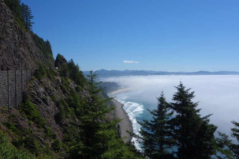 There's a beach there somewhere. Overlooking Nahalem Beach, south of Cannon Beach