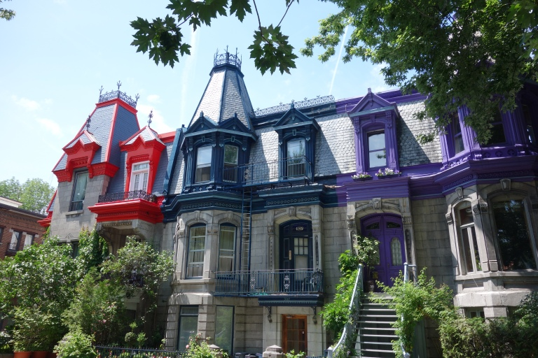Beautiful houses in the Plateau region on Montreal.