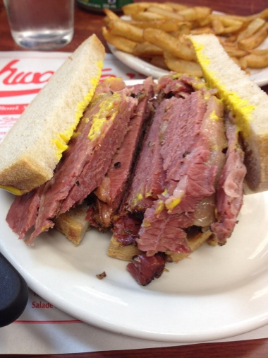 Enormous smoked meat sandwich at Schwartz's in Montreal